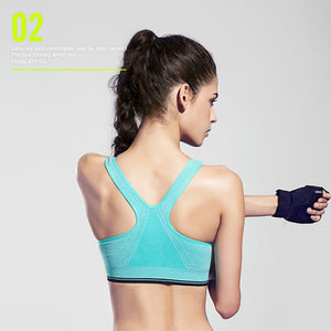 Women's Zipper Front Open Sports Bra with Removable Pads