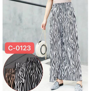 Zebra Print Elatic Waist Wide Leg Pleated Trouser