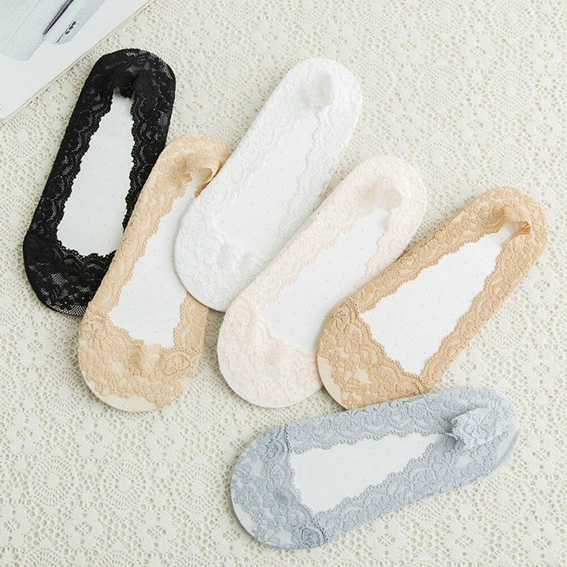 Pack of 3 Lace No Show Socks For Women