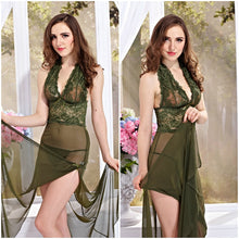 Load image into Gallery viewer, Women's Lace Side Split Long Gown Lingerie with Thong