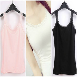 Pack of 3 Lace Trim Cotton Soft Stretchy Tank Tops