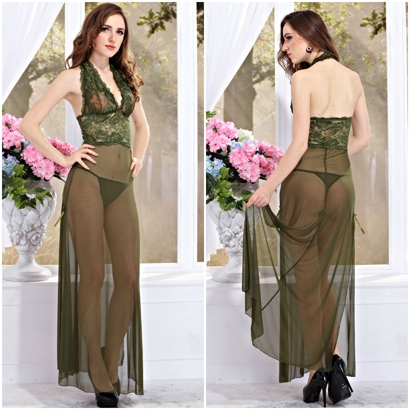 Women's Lace Side Split Long Gown Lingerie with Thong