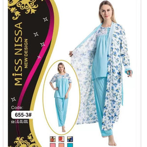 Women Long Gown with Comfortable Pajama Set