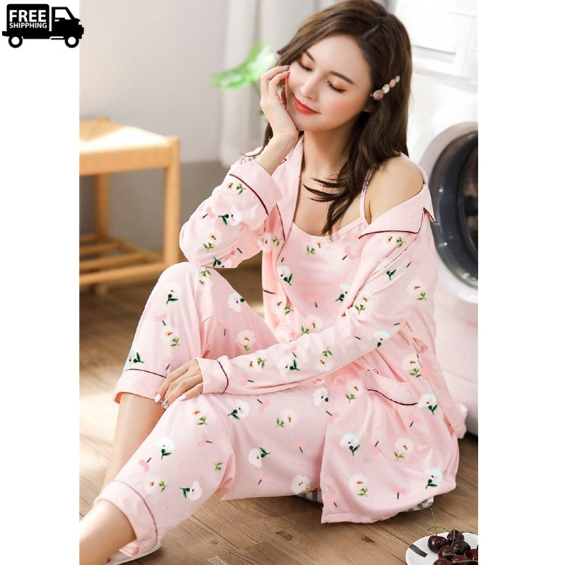 Women 3 Pieces Soft Loungewear & Sleepwear