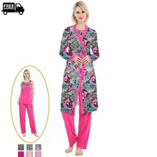 Load image into Gallery viewer, 3 Pieces Robe Pajama Set Lounge Wear & Sleepwear