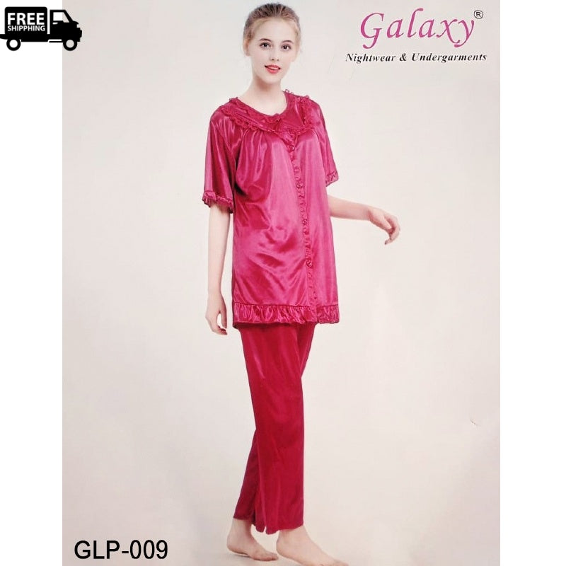 Women's Short Sleeve Classic Satin Silk Pajama Set