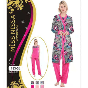 3 Pieces Robe Pajama Set Lounge Wear & Sleepwear