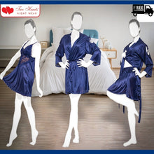 Load image into Gallery viewer, Silk Satin 3 Pieces Nightdress for Women