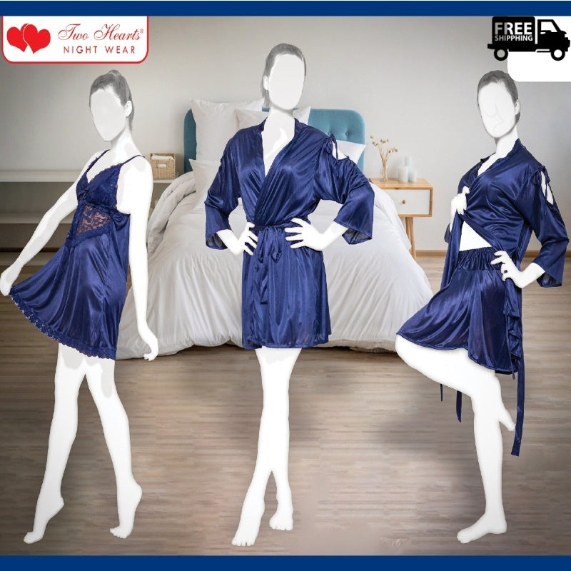 Silk Satin 3 Pieces Nightdress for Women