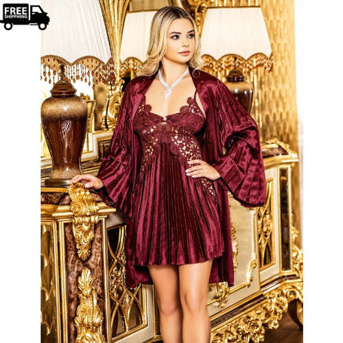 Women Satin Nightdress Wide Sleeves Robes Lingerie