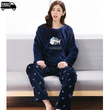 Load image into Gallery viewer, Girls Winter's Fleece Comfy Pajama Set Casual Loungewear