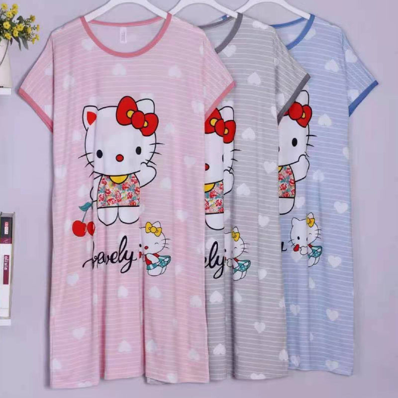 Kitty Print Cute Nightgown Sleepwear