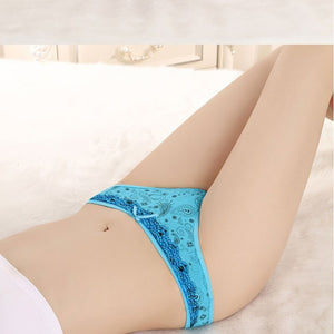 Lace Trim Printed Cotton Thong Panties