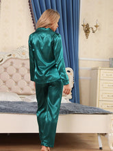 Load image into Gallery viewer, Satin Silk Pajamas Set V Neck Notched Collar