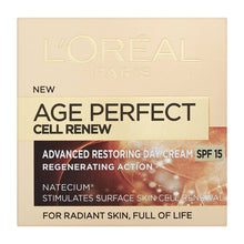 Load image into Gallery viewer, L'Oreal pairs age perfect cream , L'Oreal pairs age perfect day cream , advance restoring day cream , spf15 cream , skin cell renewal cream , full of life , radiant skin cream