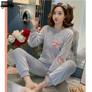 Winter's Fleece Warm Pajamas Sets For Girls