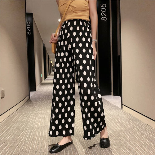 Polka Dot Wide Leg Trouser For Women's
