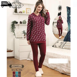 Women Winter Pajama Set 2 Piece Sleepwear Pjs