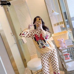 Cute Soft Fleece Comfortable Nightwear Pajama Set