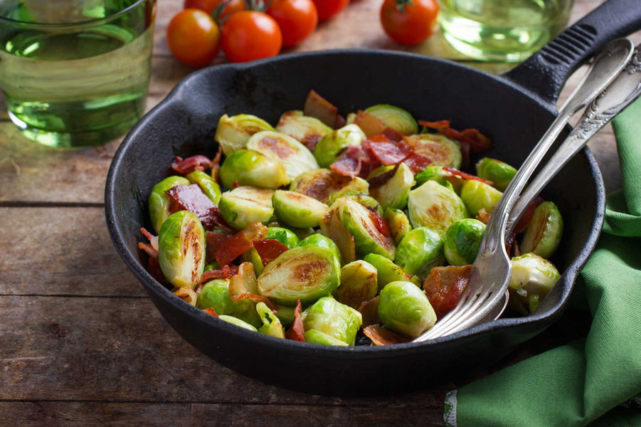 Brussels Sprouts with Onion, Bacon and Garlic Infused Olive Oil