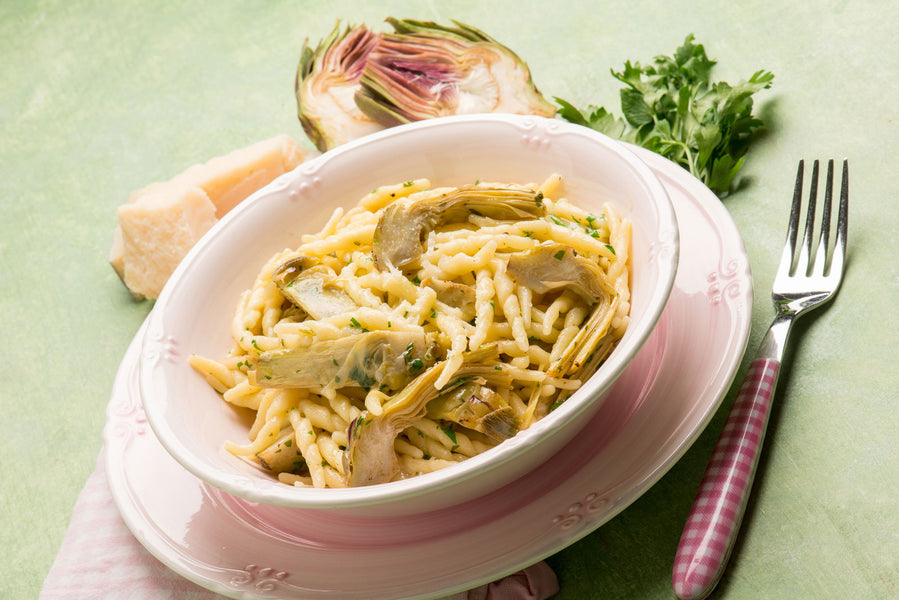 Trofie Pasta with Artichokes in a Garlic and Olive Oil Sauce