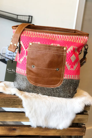 Hot Pink Aztec Cowhide Shoulder Bag