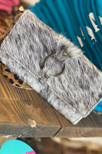 The Lydia Black + White Cowhide Wallet