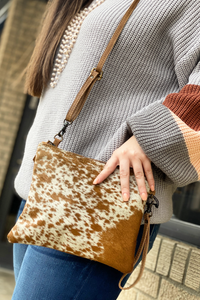 Brown Cowhide Crossbody