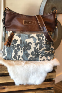Camo + Leather Shoulder Bag