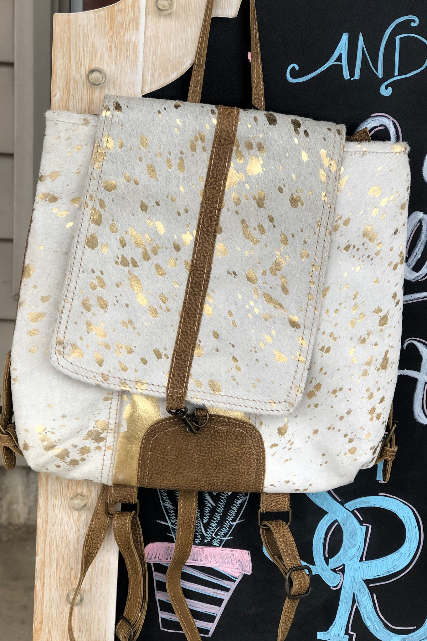 Gold Foil + Cowhide Backpack