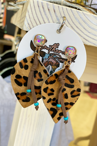 Leopard Dangle Earrings