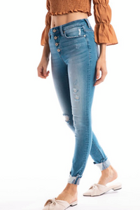 KanCan High Rise Distressed Skinnies