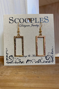 Scooples Gold Rectangle Earrings