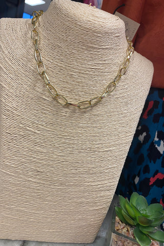 Scooples Paper Clip Gold Necklace