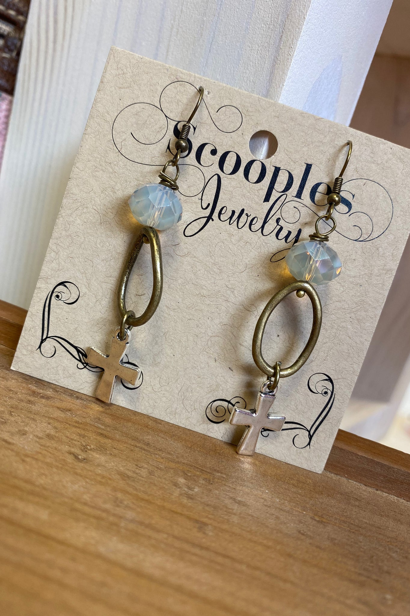 Scooples White Smoke Cross Earrings