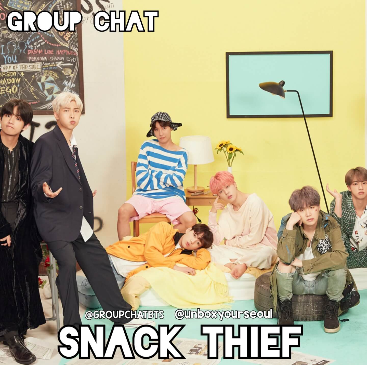bts imagine groupcaht snack thief