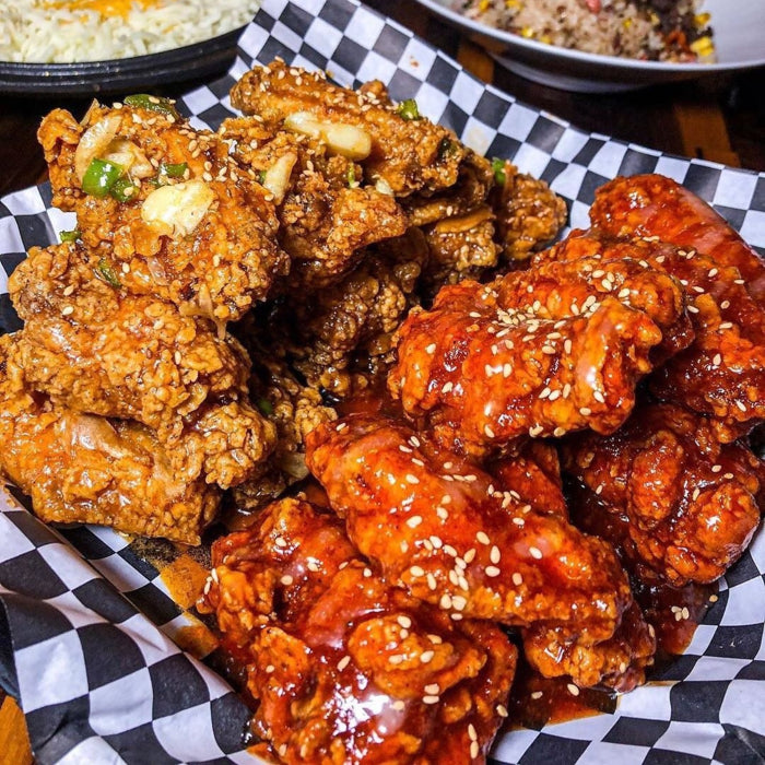 korean fried chicken street food yangyum chicken