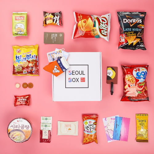 december 2019 travel to korea seoulbox korean snacks and bt21 socks