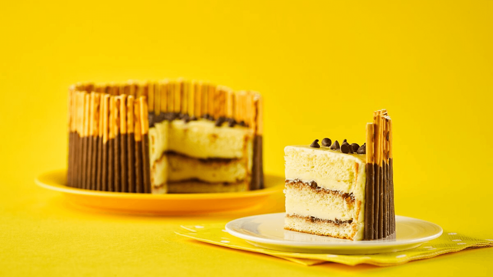 Pepero cake yellow background