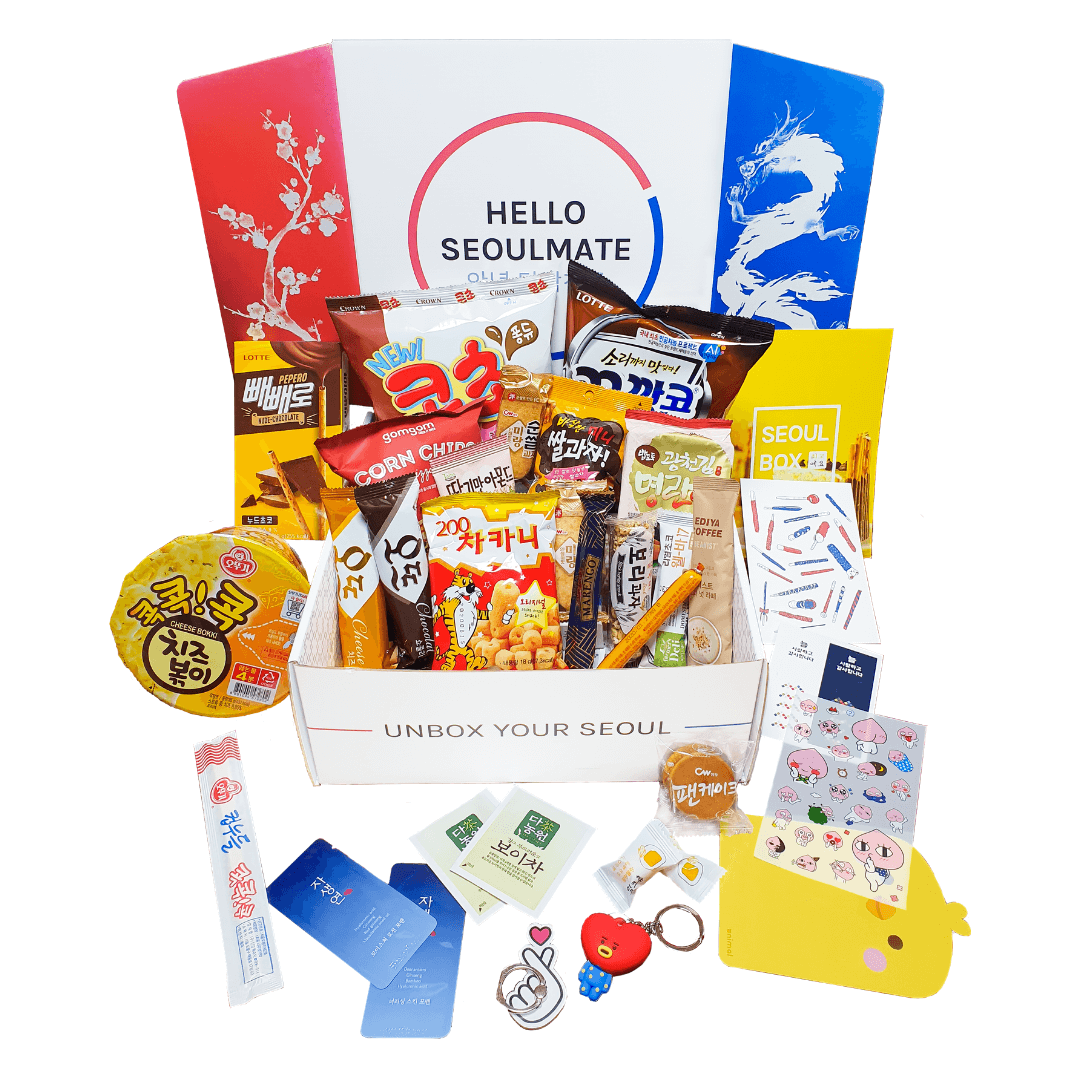 Signature Seoul Box Korean candy gift box with BTS Tata key chain and Korean finger heart phone holder