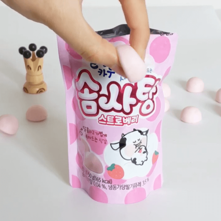 strawberry soft cotton candy korean sweets