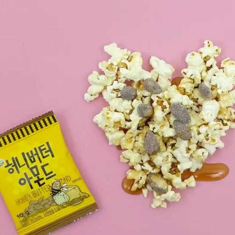 kdrama korean honey butter almonds popcorn maple syrup pink background