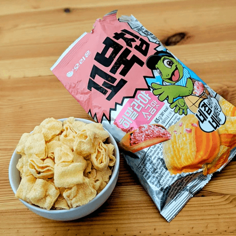 snacks in a bowl pink