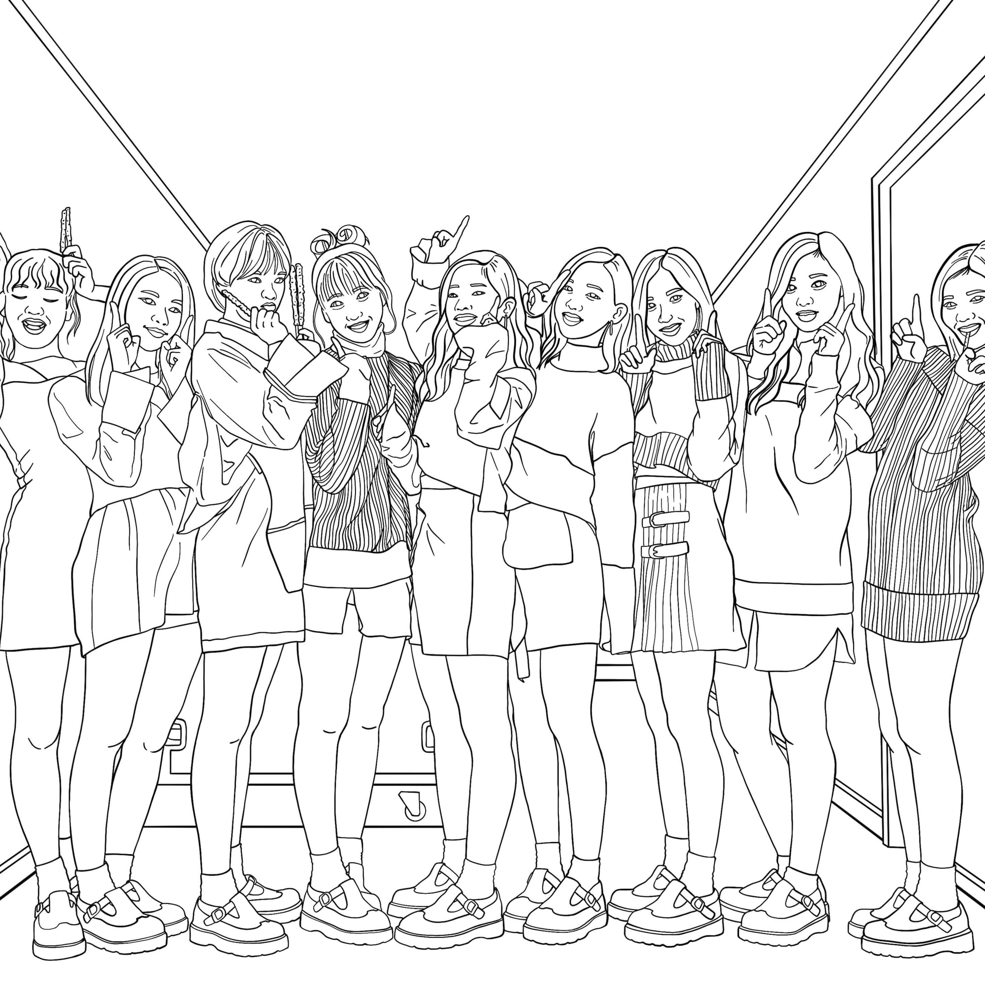 Twice coloring page