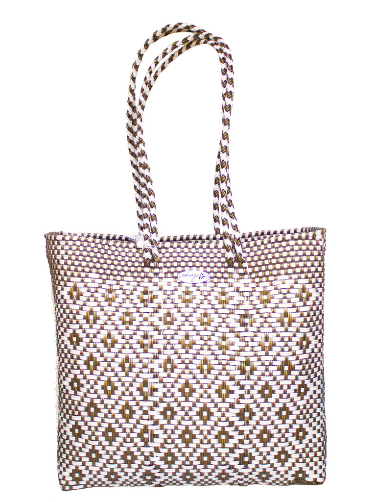 White and Gold Recycled Plastic Tote