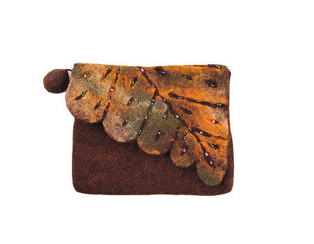 Felt Leaf Clutch Brown