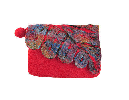 Felt Leaf Clutch Red
