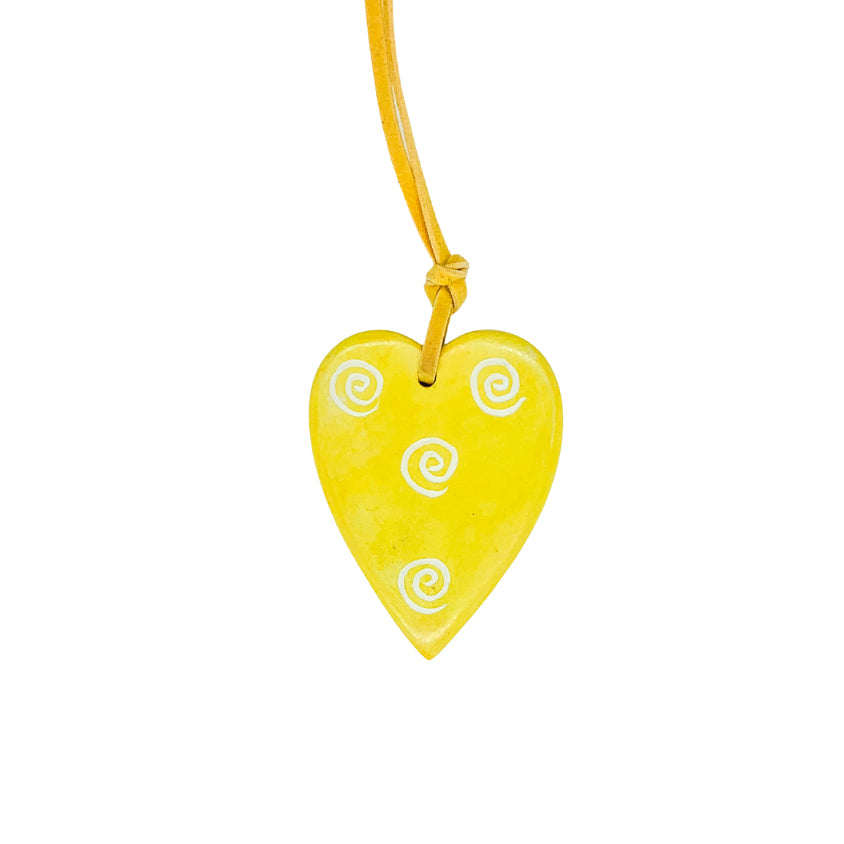 Hand-Carved Soapstone Heart Pendant