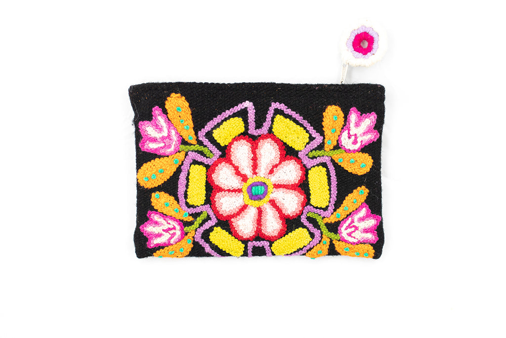 Ayacucho Flowers  Hand Embroidered Pouch