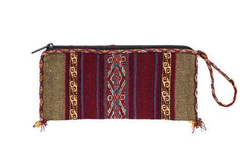 Traditional Cusco Woven Pencil Case - Green